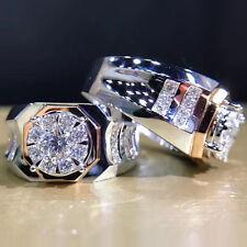 1Ctw Round and Princess Brilliant Cut Moissanite Wedding Men Ring 9K White Gold