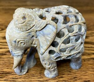 Vintage soap stone Marble carved ELEPHANT with baby inside figurine excellent