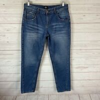 BDG Urban Outfitters High Rise Tapered Leg Ankle Crop Jeans Sz 30 Blue 32x27
