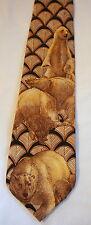 Necktie Endangered Species Tie Polar Bear Khaki Navy Blue 100% Silk Made in USA