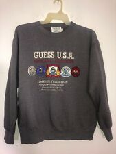 Vintage Guess Jeans USA Spell Out Georges Marciano Men's Dark Gray Sweater Large