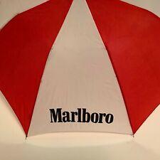 Marlboro umbrella /Auto open / used / Red and White / Metal Snap Closure