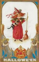"""A Girl in a Witches Hat"" W/ Her Cat & Broom Hallowe'en Greetings Postcard- 274"