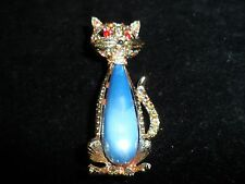 Aurora Borealis Cat Gold Statement Vintage Rhinestone Crystal Pin Brooch Estate