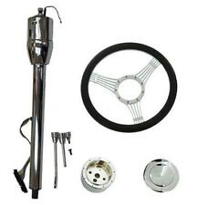 "Manual Column 32""GM No Key & 14""  Billet Steering Wheel & Adapter & Horn Button"
