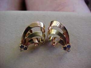 14 K Gold SAPPHIRE earrings with diamonds screw backs 6.6 grams