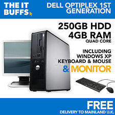 DELL OPTIPLEX QUAD CORE 4GB 250GB HDD WINDOWS XP - FISSO PC COMPUTER Set