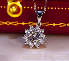 Delicated 4Ct Round Cut Moissanite Halo Necklace Pendant 14K White Gold Finish