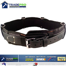 """Leather Tool Belt Medaltech® Nail Bag Riggers Padded Oil Tanned Saddle 38 to 46"""""""