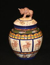 Zrike Pottery Field & Stream Medium Canister with Buffalo Lid Finial