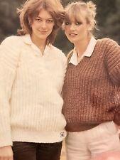 FCl74 - Knitting Pattern -  Mohair Blend Lady's & Men's V-Neck Jumpers