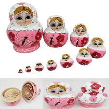 10Pcs Wooden Butterfly Russian Doll Matryoshka Toy Decor Nesting Dolls Kid Gift