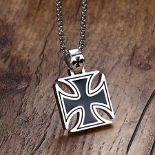 Sleek Heavy Maltese Iron Cross Black Silver Stainless Steel Pendant Necklace