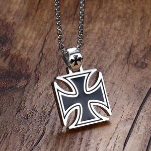 Sleek Heavy Maltese Iron Cross Black Silver Stainless Steel Pendant Necklace