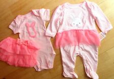 3 lot New Carter's Bunny Bodysuit Pajama Coverall Romper tutu skirt baby set 9 m