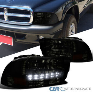 For Dodge 97-04 Dakota 98-03 Durango Smoke SMD LED Strip Headlights Left+Right