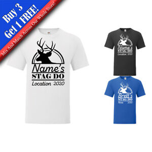 Personalised Men's Stag Do T-Shirt with Stag Design, Various Sizes and Colours
