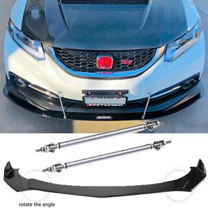 Front Bumper Lip Splitter Spoiler + Strut Rods For Honda Civic Coupe 2011-2021