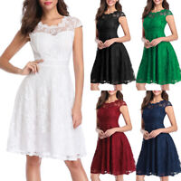 Women's Vintage Floral Lace Cap Sleeve Fit Flare Elegant Cocktail Party Dresses