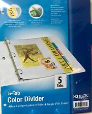 Bazic BAZIC 3-Ring Binder Dividers w/ 5-Insertable Color Tabs