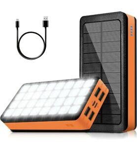 Solar Charger Power Bank 30000mAh, Portable Phone Charger, 32 LEDs Flashlight..