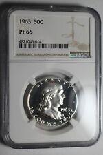 1963 Franklin Half Dollar PF65 Coins Cameo #014 NGC