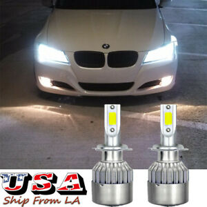 H7 Xenon White LED High/Low Beam Headlight Bulbs For BMW E90 F30 328i 330i 335i