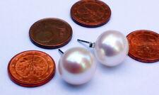 12mm-12,5mm W Natürlich Süßwasser Perlen Schmuck Ohrringe Ohrstecker 925 Silber