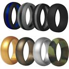 TRAININGEAR Silicone Wedding Band Ring Men Black Camo Gray Safe Flexible Rings