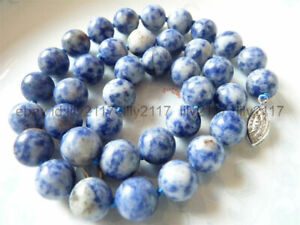 Charm Natural 10mm Blue White Lapis Lazuli Round Gemstone Beads Necklaces 16-36""