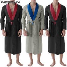 Men's Silky Satin Bathrobe Long Sleeve Kimono Robe Dressing Gown Nightwear Robe