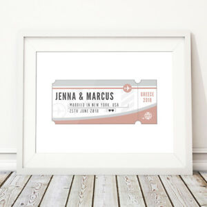Ticket Personalised Destination Wedding or Anniversary Gift Print for Couple
