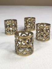 """Vintage Heavy Brass Napkin Rings Set Of 4 Hand Made 1 5/8"""" Tall 1.5"""" Hole"""