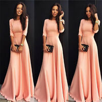 Women's Long Formal Pink Evening Party Ball Gown Prom Bridesmaid Cocktail Dress