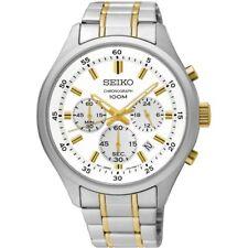 Seiko SKS589P1 Mens Dress White Dial Chronograph Two-Tone Stainless Quartz Watch