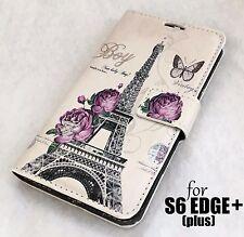 Samsung Galaxy S6 Edge Plus - Paris Eiffel Tower Leather Wallet Pouch Case Cover