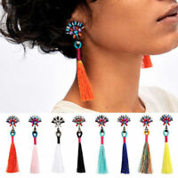 Women Bohemian Boho Rhinestone Long Tassel Fringe Dangle Drop Earrings Fashion