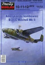 American WWII Bomber B-25 C Mitchell Mk II  - Paper Card Model in 1/33 Scale