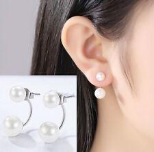 Women Silver Gold Plated Double Sided Faux Pearl Ear Stud Studs Earrings Gift UK