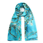 100% Silk Satin Women Scarf 67x20 long Shawl Wrap blue green red pink S173-008-A