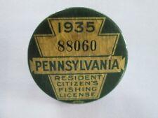1935 Pa Pennsylvania Fishing License W Matching Paper