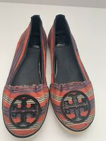 Tory Burch Bauer Slip On Canvas Multicolor Striped Sneakers Size 6M
