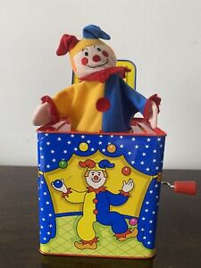 Schylling Silly Circus Jack-In-The-Box Toy Clown 2010 metal, tin musical