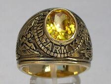 12X10 mm United States Army Military November Yellow CZ Birthstone Men Ring 10