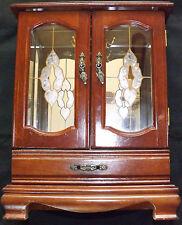 Scatola Portagioielli di grandi dimensioni in mogano specchio armadio cassetto maniglie porte in vetro decorata