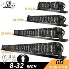 6D Offroad Light Bar 8'' 14'' 22'' 32'' Slim LED Work Light Bar 12V 14V Straight