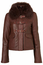 TOPSHOP PREMIUM RRP £300 QUILTED SHEEPSKIN LEATHER FUR JACKET COAT