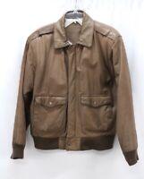 vintage womens brown PRESTON & YORK leather bomber jacket flight soft classic M