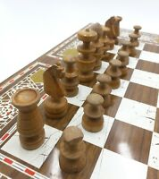 Chess Vintage Set Handmade Wood Pieces Damascus Style Board Checkers Backgammon