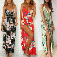 Womens Summer Sling Jumpsuit Holiday Spilt Floral Playsuit Pants Beach Romper